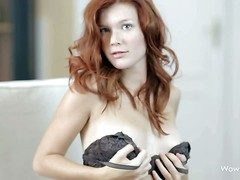 Mia Sollis is a pulchritudinous hunger haired teen redhead that