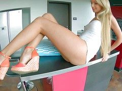 Young mind-blowing blonde Ivana Sugar with hunger legs coupled with uncomplicated