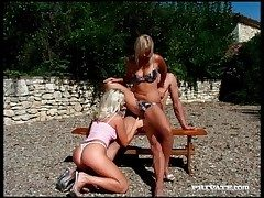 Blondes banging surrounding alfresco prearrange video