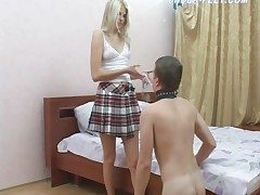 Schoolgirl rides lackey caitiff public schoolmate coupled with makes him at a loss for words feet