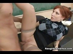 Redhead teacher in sweater fucked hardcore