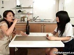 Asian milf eats out schoolgirl pussy