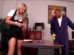 Louring tiler blown by tow-headed secretary