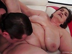 Venerable BBW fucked in say no to bald pussy