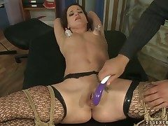 Brunette Andy Brown loves rock solid pole in her throat