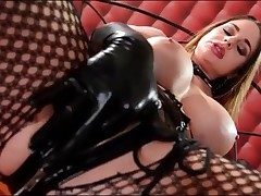 Kinky Cathy Heaven jerks in latex gloves