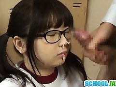 Japanese schoolgirl with thick tits Aimi Irie engulfs manhood