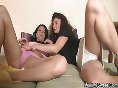 Mommy tempts her son\'s Girlfriend for threesome