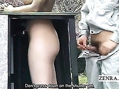 Subtitled public Asian park statue prank hidden sex
